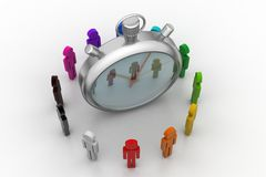 3d people around the clock, time management concept Royalty Free Stock Image