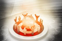 3d People Around the digital World. Digital illustration Royalty Free Stock Images