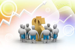 3D people around dollar sign Royalty Free Stock Image