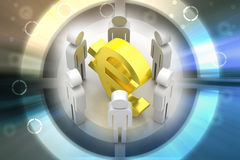 3d people around euro sign Royalty Free Stock Image