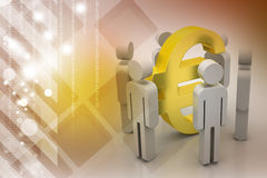 3d people around euro sign Stock Photos