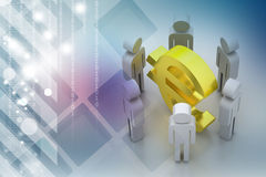 3d people around euro sign Stock Images