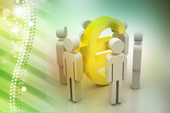 3d people around euro sign Stock Photography