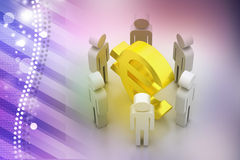 3d people around euro sign Royalty Free Stock Photo