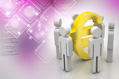 3d people around euro sign Royalty Free Stock Images