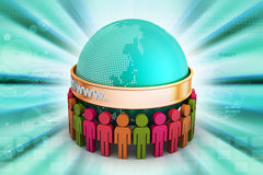 3d people around the globe. In color background Royalty Free Stock Photos