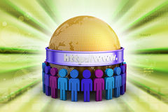 3d people around the globe. In color background Royalty Free Stock Photo