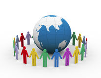3d people around globe. 3d illustration of colorful people around the globe. Concept of global communication Stock Photography