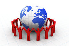 3d people around the globe. 3d render of people around the globe Stock Photo