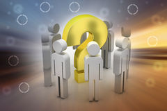 3d people around the question mark. In color background Royalty Free Stock Photos
