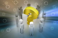 3d people around the question mark. In color background Stock Images