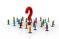 3d people around the question mark. In white background Royalty Free Stock Photo