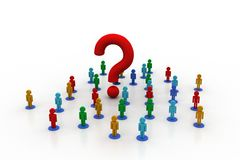 3d people around the question mark. In white background Royalty Free Stock Photos