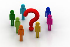 3d people around the question mark. In white background Stock Image