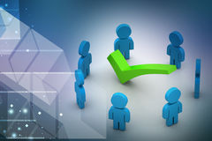 3d people around the right mark, success concept Royalty Free Stock Image