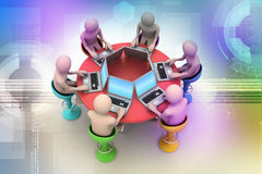 3d people around a table looking at laptops. In color background Royalty Free Stock Photo