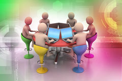 3d people around a table looking at laptops. In color background Royalty Free Stock Images