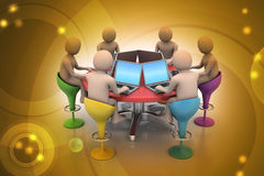 3d people around a table looking at laptops. In color background Royalty Free Stock Photos