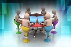 3d people around a table looking at laptops. In color background Royalty Free Stock Image