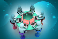 3d people around a table looking at laptops Royalty Free Stock Photo