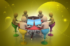 3d people around a table looking at laptops. In color background Stock Photo