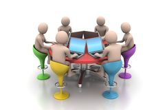 3d people around a table looking at laptops. In white backgroundc Stock Photography