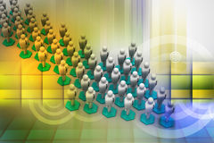 3d people arrange in arrow que Royalty Free Stock Image