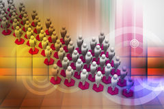 3d people arrange in arrow que Royalty Free Stock Images