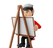 3d people artist with an easel. 3d renderer image. People painter with an easel, isolated white background Royalty Free Stock Photo