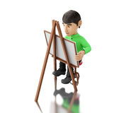 3d people artist with an easel. 3d renderer image. People painter with an easel,  white background Royalty Free Stock Photography