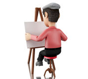 3d people artist with an easel. 3d renderer image. People painter with an easel,  white background Stock Photo