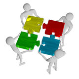 3d people assembling multicolor puzzle Stock Images