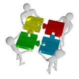 3d people assembling multicolor puzzle. 3d people assembling shiny multicolor puzzle isolated on white Stock Images