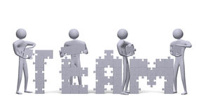 3d people assembling team text of puzzles. Four 3d people assembling team text of grey puzzle pieces Stock Image