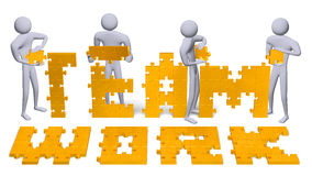3d people assembling teamwork text of golden puzzles. Four 3d people assembling teamwork text of golden puzzle pieces Royalty Free Stock Photos
