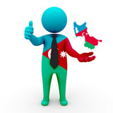 3d people Azerbaijan (Iran) - map flag of Azerbaijan (Iran)- Turkic Council. Azerbaijanis in Turkic Council Royalty Free Stock Image