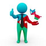 3d people Azerbaijan (Iran) - map flag of Azerbaijan (Iran)- Turkic Council. Azerbaijanis in Turkic Council royalty free stock image