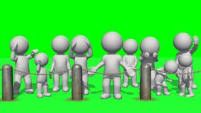3D people behind chains blockade. Green screen Royalty Free Stock Image