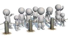 3D people behind chains blockade. Separated on white background vector illustration