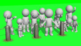 3D people behind chains blockade. On green background royalty free illustration