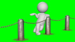 3D people behind chains blockade - green screen. 3D male standing behind a barrier of metal bollard with chains - isolated on green background royalty free illustration