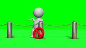 3D people behind chains blockade - isolated on green background. 3D male standing behind a barrier of metal bollard with chains and with prohibition sign stock illustration