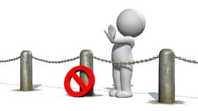 3D people behind chains blockade - isolated on white background. 3D male standing behind a barrier of metal bollard with chains, prohibition sign and shows stop royalty free illustration