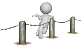 3D people behind chains blockade - isolated on white background. 3D male standing behind a barrier of metal bollard with chains - isolated on white background royalty free illustration