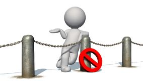 3D people behind chains blockade - isolated on white background. 3D male standing behind a barrier of metal bollard with chains and with prohibition sign vector illustration