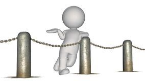3D people behind chains blockade. 3D male standing behind a barrier of metal bollard with chains - isolated on white background stock illustration