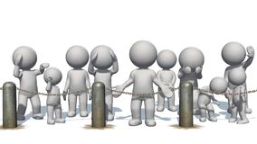 3D people behind chains blockade. Separated on white background stock illustration