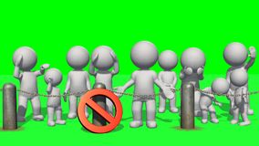 3D people behind chains blockade and stop sign. Green screen vector illustration