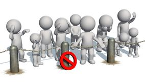 3D people behind chains blockade. And stop sign  - separated on white Royalty Free Stock Photography