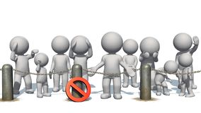 3D people behind chains blockade. And stop sign  - separated on white Stock Photography